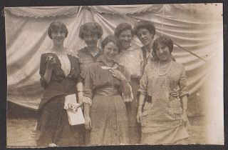 """Two photographs of """"The Pilgrim Girls,"""" a popular all-woman band that performed on the Lyceum and Chautauqua circuits"""