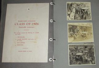 A comprehensive scrapbook-photo album documenting the 25th Reunion of Harvard University's Graduating Class of 1906