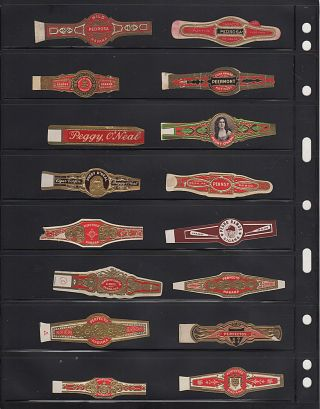 Mid-20th century collection of cigar bands, many from Cuba
