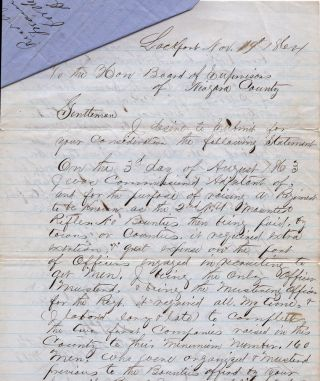 """Civil War documents related to the compensation of a Union officer who returned home to raise two companies for the 2nd New York Mounted Rifles (also known as the """"Governor's Guard"""") after being discharged for wounds suffered at the Battle of Cedar Mountain in Virginia"""
