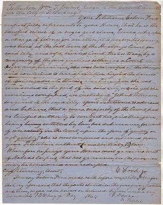 A remarkable petition and writ of Habeas Corpus issued to a Virginia slave holder freeing one of...