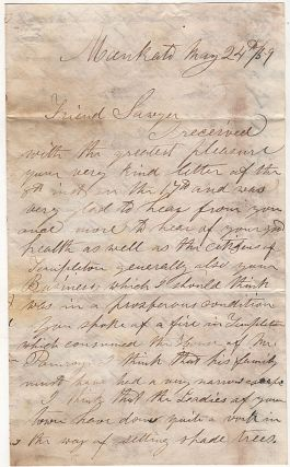 Letter from a farmer in Minnesota discussing the Treaty of 1859 and the possibility of obtaining more land from the Ho-Chunk (Winnebago) to for white settlement in and around Mankato