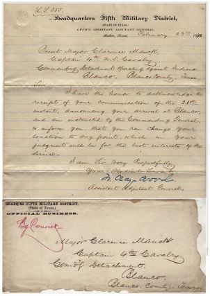 Three sets of manuscript orders related to a Texas campaign by the 4th Cavalry Regiment...