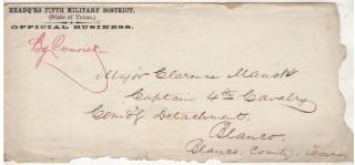 """Three sets of manuscript orders related to a Texas campaign by the 4th Cavalry Regiment """"Operating Against Indians"""""""