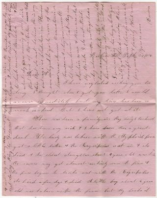 Long and detailed letter from a woman, who had recently left the Kansas Territory, describing the...