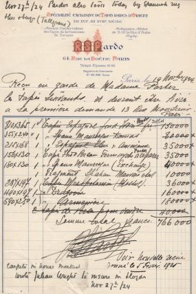 Large archive consisting of Cole Porter's financial records that were kept by the Porter family lawyer in Peru, Indiana, including invoices listing hundreds of antiques and objets d'art used to ostentatiously furnish the Porters' Paris and Venice apartments as well as box office and royalty receipts for shows including Paris, Fifty Million Frenchmen, The Gay Divorcee, and Anything Goes
