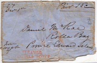 Rare shipwreck cover addressed to Prince Edward Island, Canada, from the California Gold Rush...
