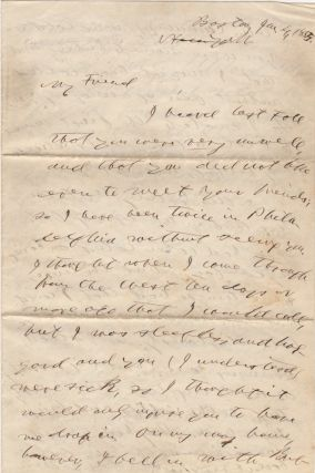 """A signed letter (ALS) from Horace Greeley to the most prominent """"Friend of the Mormons"""" inquiring about his health and relating the latest news of the Greeley family"""
