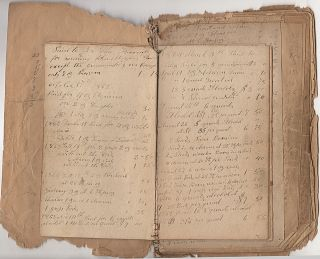 Handmade twenty-year ledger from a Pennsylvania physician documenting his purchases of medicine...