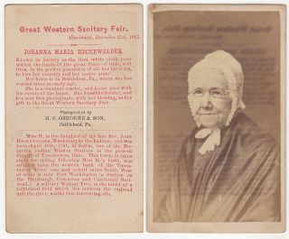 CDV of Johanna Maria (Polly) Heckewelder sold to raise money at the Great Western Sanitary Fair...