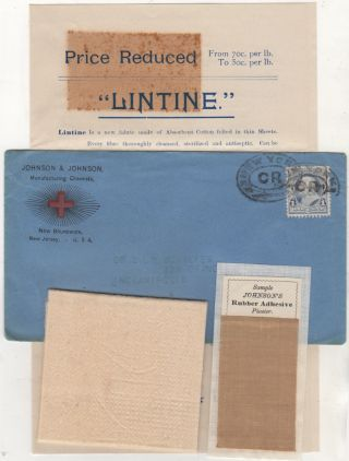 Johnson & Johnson advertising packet including samples of Lintine and Johnson's Rubber Adhesive...