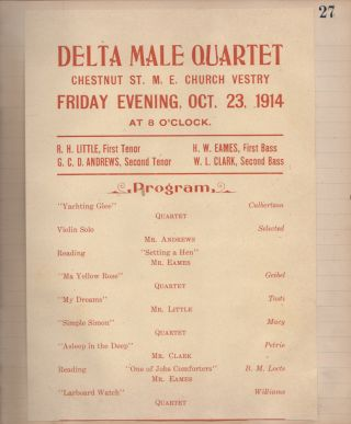 Three-year scrapbook-journal documenting the formation, performances, and dissolution of the Delta Male Quartet