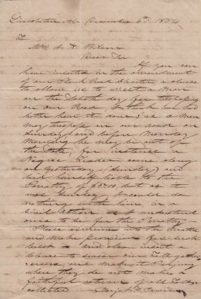 A manuscript letter of petition from chairman of the Lincoln County Western Plank Road requesting the road's attorney pursue a change in its charter to allow the arrest of slave-trading trespasser on the Sabbath