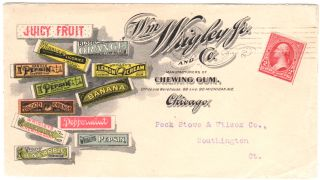 Colorful illustrated envelope advertising 12 varieties of Wrigley's Chewing Gum