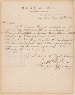 Letter to all commanders of Union General Hospitals from the Surgeon General directing them to...