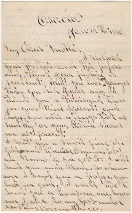 "Letter from a gold prospector who served as the ""judical chair"" for a mining camp. W. B"