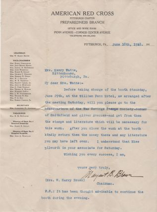 Correspondence archives documenting one woman's effort to volunteer a surgical bandage and dressing preparer during World War One