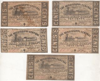 Complete set of eight Civil War currency bills issued by The Mississippi Central Railroad Company