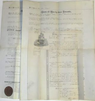 Two large and impressive Bills of Sale for the Steam Tow Boat, Benwood. John Joseph Davey, Eliza...