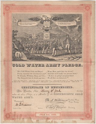 Cold Water Army Pledge: Certificate and Song Sheet. Issued to Henry S., et. al T. S. Williams
