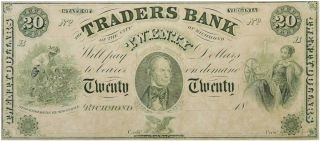 Advertising Envelope for a pair of Richmond slave traders along with a proof copy of a $20 banknote from a slave traders bank they helped found