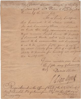 Deed of Manumission for a New York City slave, signed by Mayor Dewitt Clinton. James Sands...