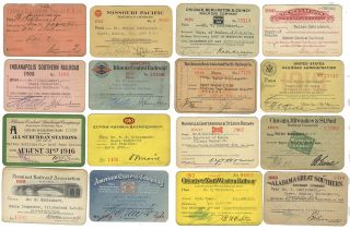Collection of approximately 215 railroad passes from about 35 different railways belonging to a...
