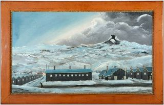 Painting of the Heart Mountain Japanese Internment camp by one of its internees. Jishiro Miyauchi