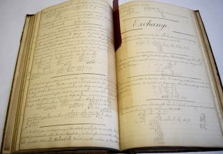 A ciphering book that also includes a hand-drawn picture and a copied text.