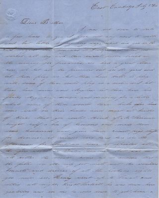A detailed letter from a guard at East Cambridge Jail (which was made infamous by Dorothea Dix nine years before) describing the inmates' Independence Day celebration and the imminent hangings of two of the most notorious 19th-century Massachusetts murderers