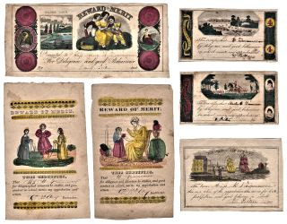 Six handcolored Rewards of Merit. Presented to Master E., Miss Mary A. Zimmerman