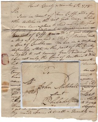 Letter sent by a Maryland patriot to the future Deputy Quartermaster of the Continental...