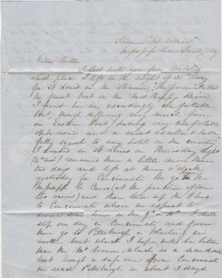 Letter from a young man to his mother describing his travels on the Mississippi River and plan to return East by the Ohio.
