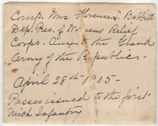 Set of five 1861 Civil War Michigan Central Rail Road passes for soldiers of the 1st Michigan Infantry Regiment including one issued to a private who was wounded at The First Battle of Bull Run (Manassas)