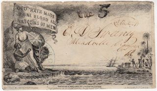 A nice example of J. Valentines famous anti-slavery propaganda envelope postally used within the...