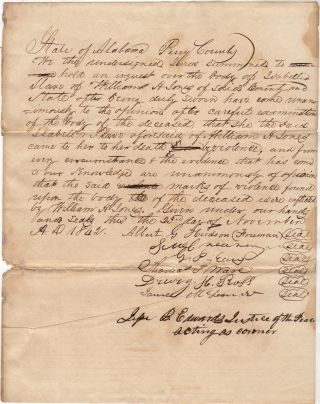 Report of an inquest into the murder of a female slave by her Alabama master. Justice of the...