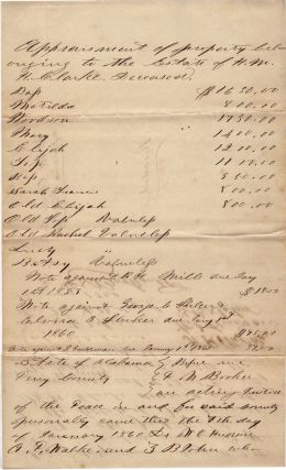 "A by-name ""Appraisement"" document for 13 slaves, four of whom were ""Valueless"", belonging..."