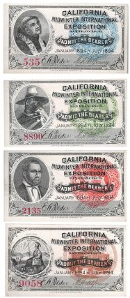 Full set of all four California Midwinter International Exposition admission tickets. Michael H....