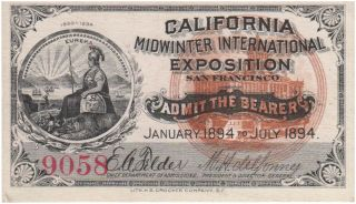 Full set of all four California Midwinter International Exposition admission tickets