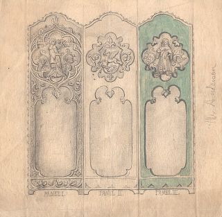 Small archive of original material (artwork, mockups, photographs, transfers, etc.) for the production of hand-painted/tooled leather screens and wall panels