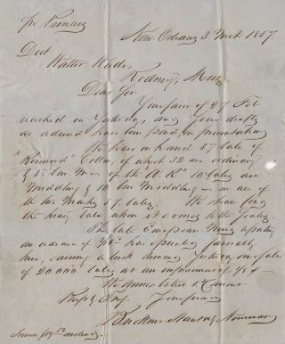 [A CONTRACT STEAMBOAT COMPANY DELIVERS THE MAIL FROM UP THE MISSISSIPPI FROM NEW ORLEANS]; Two letters carried by the famous Mississippi riverboats, Natchez and Princess from New Orleans cotton brokers informing the owner of a large Mississippi plantation of the status of cotton bales awaiting shipment to Europe and the state of the European cotton market