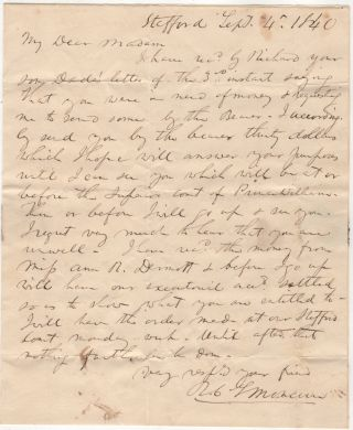 [A SLAVE CARRIES MAIL BETWEEN A FUTURE JUDGE OF THE SUPREME COURT OF VIRGINIA AND AN ELDERLY FEMALE MEMBER OF A PROMINENT VIRGINIA FAMILY]; Letter carried by the slave, Richard, from R. C. L. Moncure to his mistress