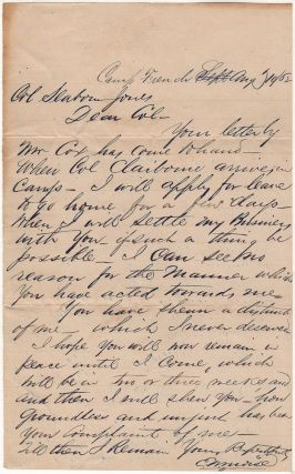 "[A JEWISH CAPTAIN IN THE CONFEDERATE CAVALRY OMINOUSLY PROMISES A GEORGIA LAWYER HE WILL SOON PAY A VISIT TO ""SETTLE MY BUSINESS WITH YOU . . . FOR THE MANNER WHICH YOU HAVE ACTED TOWARDS ME.""]; A short, but threatening, letter sent by a prominent Jewish Confederate cavalry officer to a lawyer in his hometown of Columbus, Georgia"