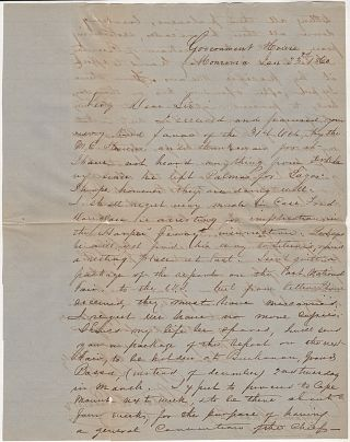 [THE PRESIDENT OF LIBERIA EXPRESSES HOPE THAT FREDERICK DOUGLASS WILL NOT BE ARRESTED FOR HIS ROLE IN JOHN BROWN'S FAMOUS RAID ON HARPERS FERRY]; A letter from the President of Liberia to an important Philadelphia abolitionist and member of the American Colonialization Society
