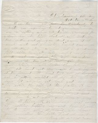 [WHILE FLIRTING WITH A GIRL HE LEFT BEHIND, A CAVALRY TROOPER IN THE DAKOTA TERRITORY RELATES HIS EXPERIENCE FIGHTING SIOUX AND CHEYENNE AS HE PROTECTS SETTLERS AND TRAVELERS ALONG THE WESTERN TRAILS]; Letter from a soldier stationed at Fort Laramie describing his isolated life and the ongoing battles with the Sioux and Cheyenne