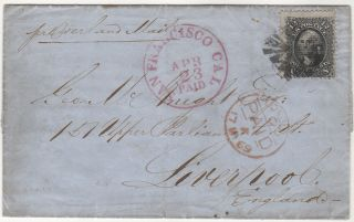 [A BUSINESSMAN IN SAN FRANCISCO INFORMS HIS BROTHER IN GREAT BRITAIN ABOUT THE PENDING COMPLETION OF THE TRANSCONTINENTAL RAILROAD AND ITS IMPLICATIONS FOR CROSS-COUNTRY TRAVEL AND SHIPPING.]; A stamped folded letter from San Francisco to Liverpool, England franked with a black 12-cent E grill stamp and accompanied by a Philatelic Foundation Certificate