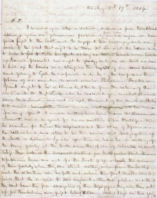 A BOARDING HOUSE OWNER WARNS HER PLANTATION-OWNING BROTHER-IN-LAW THAT AUTHORITIES ARE SEIZING UNACCOMPANIED SLAVES AND FORCING THEM TO BUILD FORTIFICATIONS IN PETERSBURG AS IT IS BESEIGED BY THE UNION ARMY; An exceptional Civil War letter providing the latest war news from Petersburg and Richmond; a rare genuine postal use of the 20c Confederate stamp