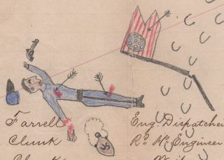 [A CHEYENNE WARRIOR VIEWS A CAVALRY TROOPER HE HAS JUST KILLED AND MUTILATED]; A vivid piece of ledger art depicting a warrior and his horse standing over a dead cavalry guidon-bearer whose right hand he has chopped-off