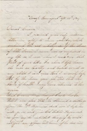 "[A UNIVERSITY OF ALABAMA STUDENT JOINS THE NEWLY FORMED CORPS OF CADETS AS THE SCHOOL TRANSITIONS FROM ITS ROWDY PIONEER PAST INTO THE ""WEST POINT OF THE SOUTH"" AT THE BEGINNING OF THE CIVIL WAR]; A letter from Cadet Thomas B. Hall to Cousin Marie shortly after he arrived on campus to begin academic year 1861-1862"