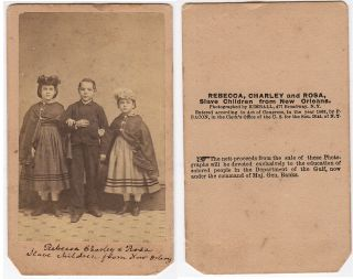 [WHITE SLAVE CHILDREN FROM NEW ORLEANS ARE PUT ON DISPLAY BY THE FREEDMANS BUREAU TO BOLSTER FLAGGING NORTHERN SUPPORT FOR CONTINUING THE CIVIL WAR]; Twelve different cartes-de-visite picturing white slave children from New Orleans who were freed when General Benjamin Butler occupied the city